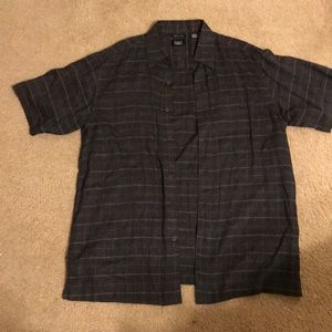 Haggar linen gray large button down short sleeve